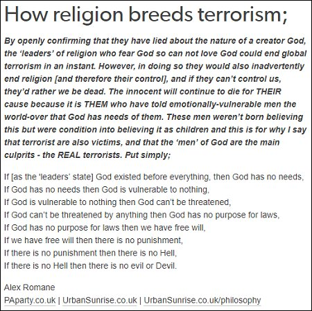 Alex Romane - How religion breeds terrorism