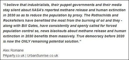 Alex Romane - industrialists, news blackouts and methane release