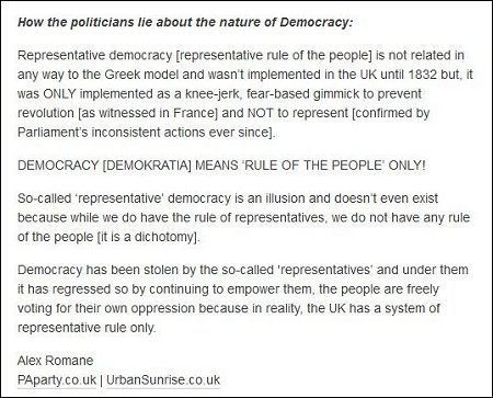 Alex Romane - politicians lie about the truth of the nature of democracy