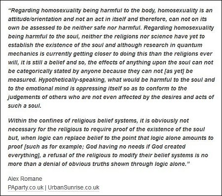 Alex Romane - homosexuality is bad for the body and soul