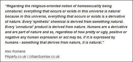 Alex Romane - homosexuality is unnatural