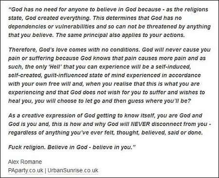 Alex Romane - we are God and God is us and, no need to believe in God