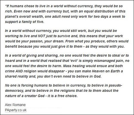 Alex Romane - World without currency, giving and shraing